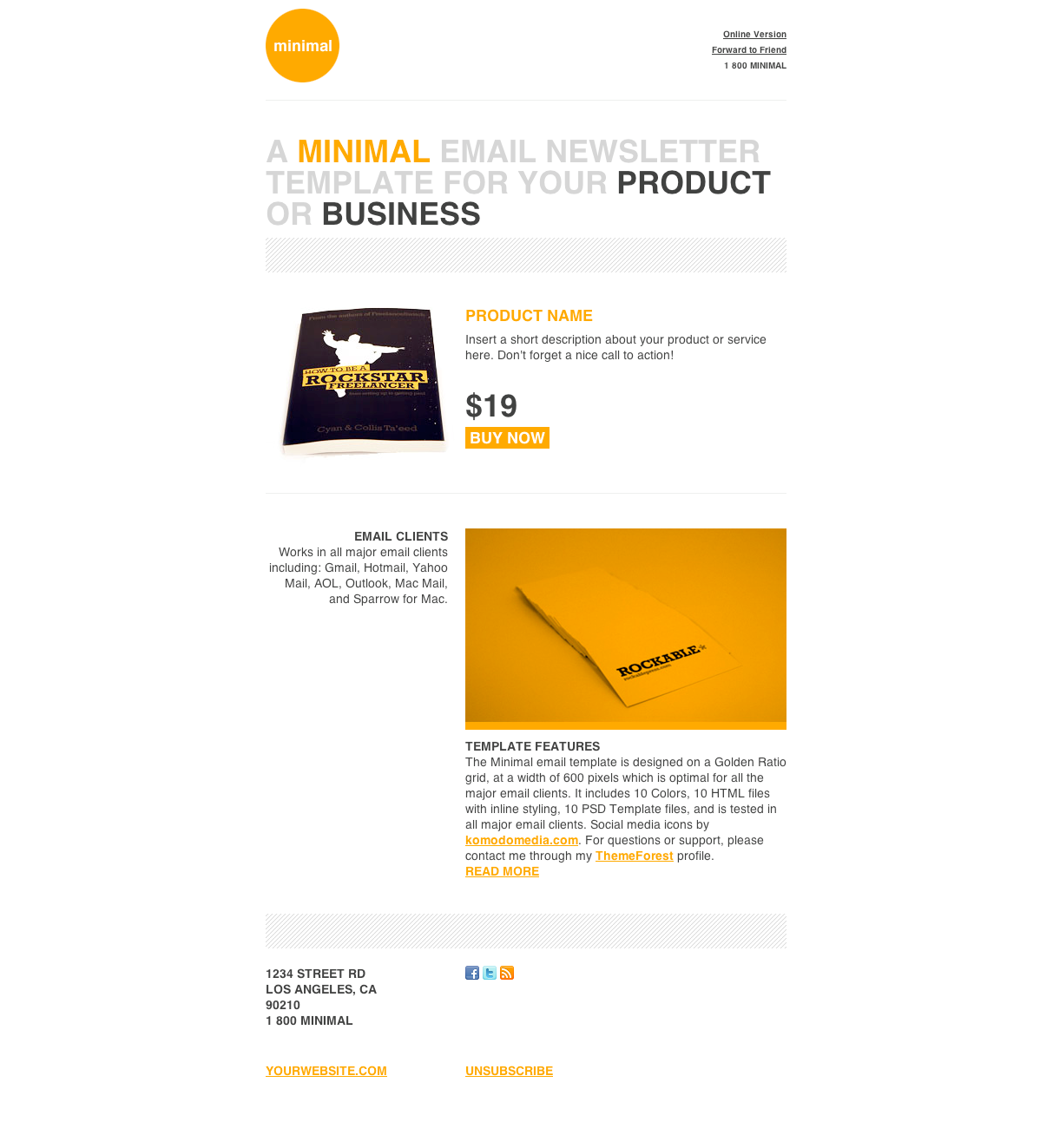 Minimal html email template screenshots orange spiritdancerdesigns Images